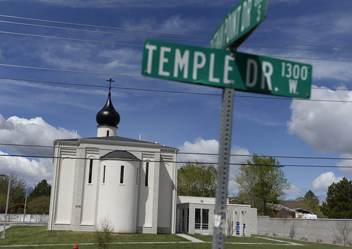 Scott Sommerdorf   |  The Salt Lake Tribune The new St. George Russian Orthodox Church at 1300 West, 6790 South, in West Jordan, seen from across 1300 West, Wednesday, April 23, 2014.