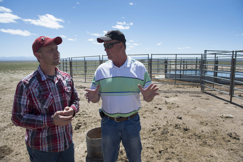 Rick Egan  |  The Salt Lake Tribune  Iron County Commissioner, David Miller (left) and Beaver County Commissioner Mark Whitney (right) discuss the wild hours problem,  and the water coral, intended for the wild horses, on private land northwest of Cedar City,  Wednesday, April 23, 2014