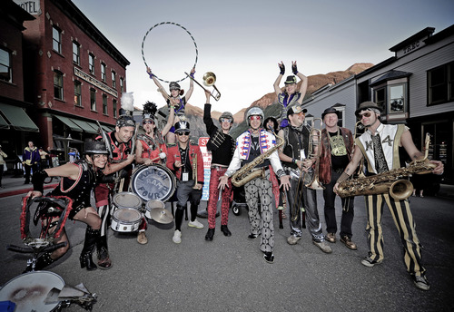 The MarchFourth Marching Band, acrobats and all, will perform at the Utah Arts Festival in June. Merrick Chase Photography