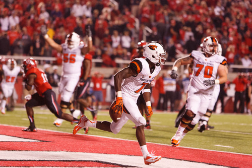 Trent Nelson  |  The Salt Lake Tribune Oregon State Beavers wide receiver Brandin Cooks (7) celebrates the game-winning touchdown pass as the University of Utah hosts Oregon State, college football at Rice Eccles Stadium Saturday, September 14, 2013 in Salt Lake City.
