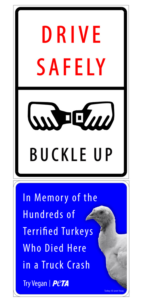 Courtesy People for the Ethical Treatment of Animals Here  is an example of the memorial sign PETA would like to erect at the site where a truck full of turkey crashed into Deer Creek Reservoir.