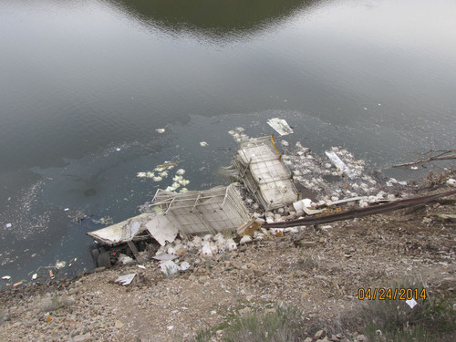 A trailer of turkeys crashed into Deer Creek Reservoir early Thursday. Courtesy UHP