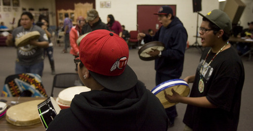 Kim Raff  |  Tribune file photo Bode Kamai, 13, performs with other drummers during a Round Dance, organized by members of the Ute Indian Tribe, at Uinta River High School in Fort Duchesne on February 9, 2013.