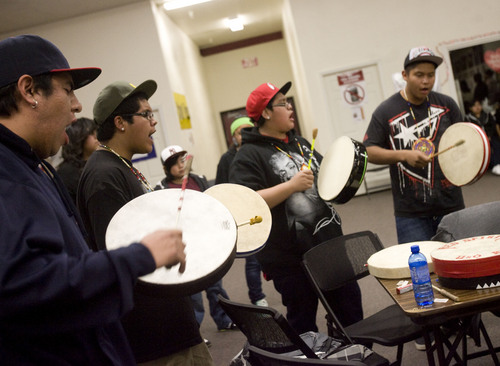 Kim Raff  |  Tribune file photo Drummers perform during a Round Dance, organized by members of the Ute Indian Tribe, at Uinta River High School in Fort Duchesne on February 9, 2013.