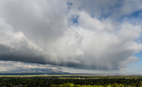 Franciso Kjolseth  |  The Salt Lake Tribune Storm clouds move quickly through the Salt Lake valley on Monday, April 28, 2014, bringing rain, hail and snow to the upper elevations before clearing up for the rest of the week.