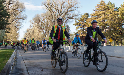 Trent Nelson  |  Tribune file photo Salt Lake County Mayor Ben McAdams, right, and Salt Lake City Mayor Ralph Becker led a group of cyclists on the annual Mayors' Bike to Work Day, Tuesday May 7, 2013.