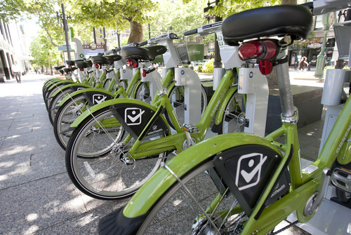Steve Griffin |  Tribune file photo GREENbike, Salt Lake City's bike-share program, is one of the ways the capital encourages vehicle-free commuting.