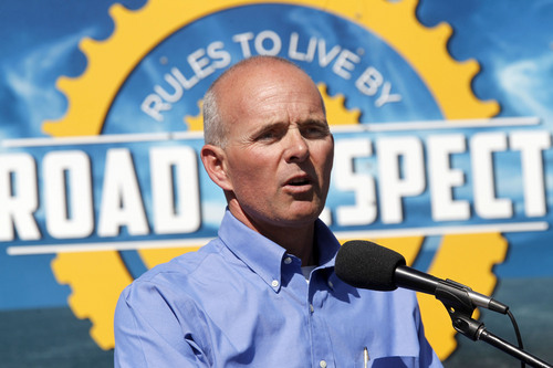 Al Hartmann  |  Tribune file photo Carlos Braceras, executive director for UDOT speaks to assembled group of dedicated bike riders at  Salt Lake Central UTA station last summer to launch a statewide tour to try to improve road safety for bicyclists.