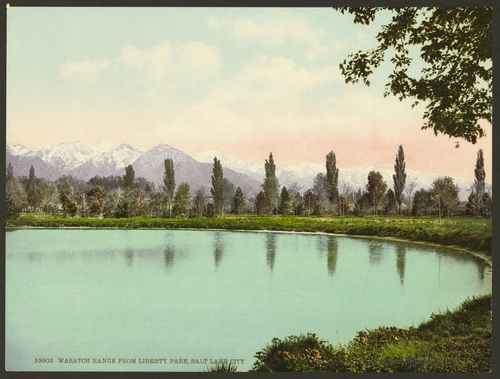 Photos courtesy Library of Congress  A hand-colored photo of Liberty Park from the early 1900s.