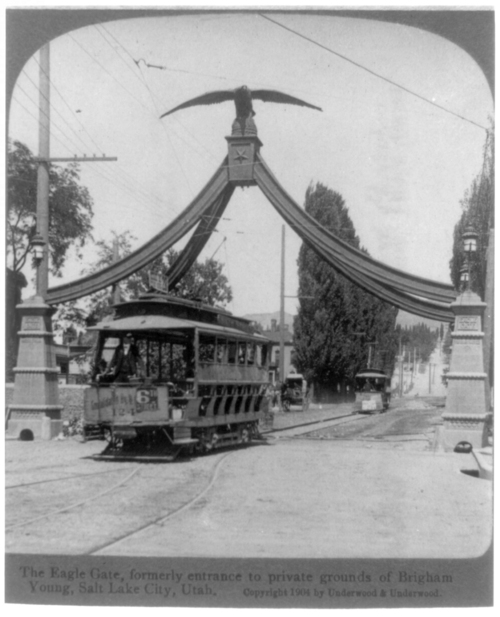 Photos courtesy Library of Congress  Trolley cars pass under the Eagle Gate on Main Street in Salt Lake City in 1904.