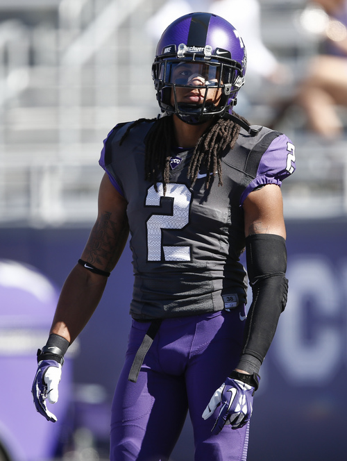 TCU cornerback Jason Verrett (2) looks on during warmups before an NCAA football game against West Virginia, Saturday, Nov. 2, 2013, in Fort Worth, Texas. (AP Photo/Jim Cowsert)