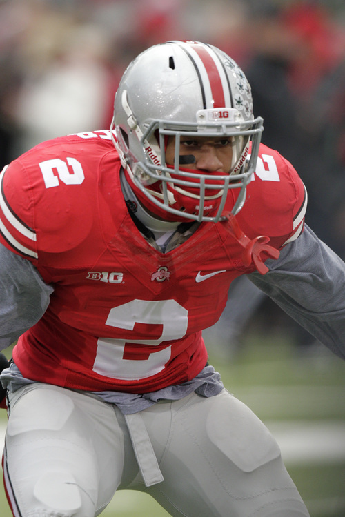 Ohio State linebacker Ryan Shazier plays against Indiana during an NCAA college football game Saturday, Nov. 23, 2013, in Columbus, Ohio. (AP Photo/Jay LaPrete)