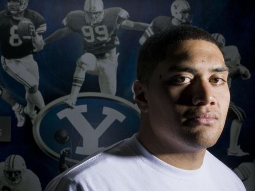 Keith Johnson   The Salt Lake Tribune   BYU defensive tackle Eathyn Manumaleuna, October 14, 2013 in Provo, Utah.