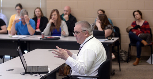 Al Hartmann  |  The Salt Lake Tribune Sam LeFevre, Program Manager for Utah Environmental Public Health Tracking Network meets with TriCounty health workers and citizens to craft an investigation into an apparent uptick in stillbirths and newborn deaths in the area.