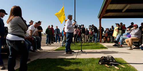 Trent Nelson  |  The Salt Lake Tribune A group of people listen to San Juan County Commissioner Phil Lyman in Blanding's Centennial Park on Saturday, May 10, 2014, prior to an ATV protest ride into Recapture Canyon, closed to motorized use since 2007 to protect the 7-mile-long canyon's prehistoric sites.