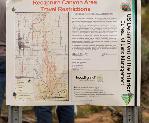 Trent Nelson  |  The Salt Lake Tribune A sign lists restrictions to motorized travel in Recapture Canyon, which has been closed to motorized use since 2007, on Saturday, May 10, 2014 north of Blanding.