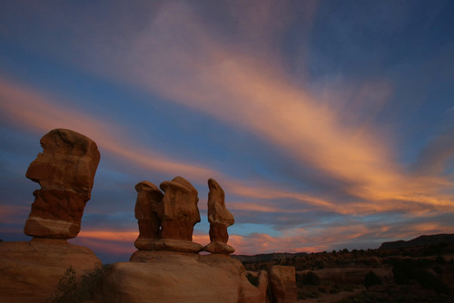 Francisco Kjolseth     The Salt Lake Tribune The sky transforms as the sun dips below the horizon surrounding the hoodoos of Devil's Garden in Grand Staircase-Escalante National Monument with color recently.