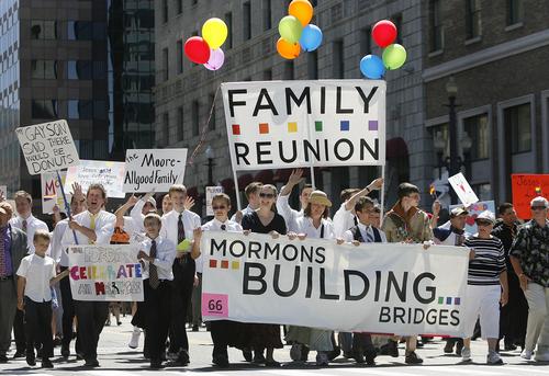 Scott Sommerdorf   |  The Salt Lake Tribune The Mormons Building Bridges group parades in the Utah Pride Festival's Gay Pride Parade through the streets of downtown Salt Lake City, Sunday, June 2, 2013.