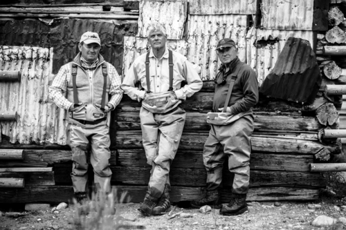 "Tim Davis | Courtesy Patagonia Books ""Simple Fly Fishing: Techniques for Tenkara and Rod & Reel"" authors Mauro Mazzo, left, Craig Mathews, center, and Yvon Chouinard, right, pose during a fishing trip at O'Dell Creek."
