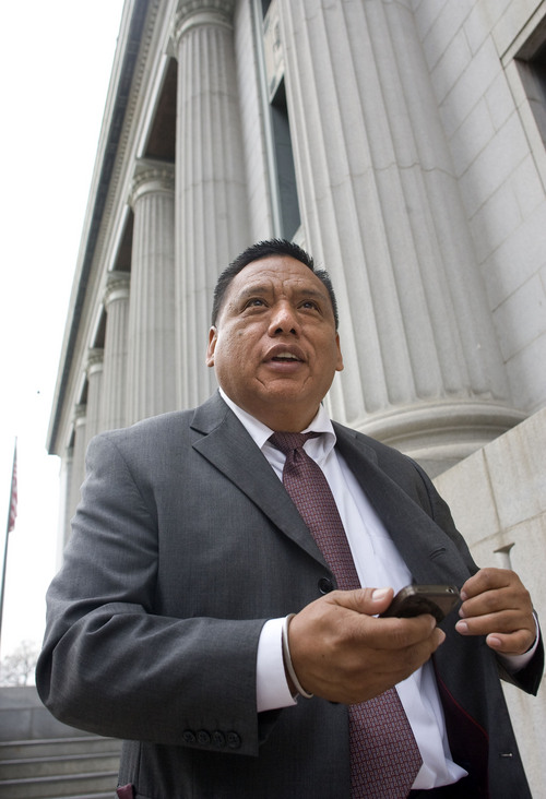 Al Hartmann  |  The Salt Lake Tribune Latino rights advocate Tony Yapias steps from the Frank Moss Federal Courthouse mid-morning Friday February 17 after listening to court testimony on HB497, Utah's enforcement only immigration law.