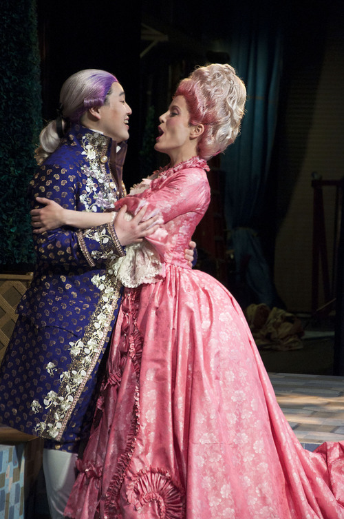 "(Courtesy photo) Andrew Stenson, who plays Belmonte, and Celena Shafer, who plays Konstanze, in a scene from Utah Opera's production of the Mozart comedy ""The Abduction From the Seraglio."""