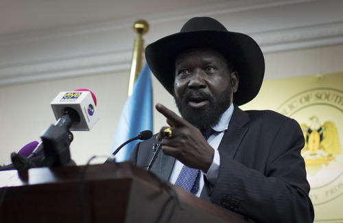 FILE - In this  Monday, Jan 20, 2014, file photo, South Sudan's President Salva Kiir speaks to the media at a press conference in Juba, South Sudan. Kiir has reached a cease-fire agreement with a rebel leader, a U.S. official said Friday, May 9, 2014, after a vicious cycle of revenge killings drew international alarm.(AP Photo/Mackenzie Knowles-Coursin, File)