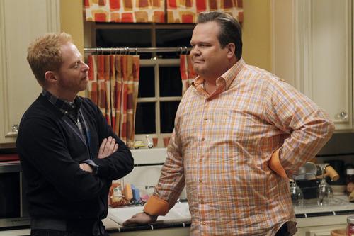 "Courtesy photo Jesse Tyler Ferguson as Mitchell Pritchett and Eric Stonestreet at Cameron Tucker on ""Modern Family."""