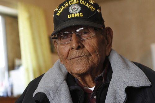 This Nov. 14, 2014 photo shows Navajo Code Talker Tom Jones during an interview at his home in Hogback, N.M. The Navajo Nation said Jones died Monday, May 14, 2014, at a Farmington hospital after a battle with pneumonia and other medical conditions. He was 89. (AP Photo/The Daily Times, Jon Austria)