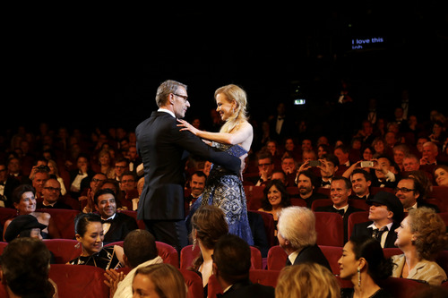 Actress Nicole Kidman and Master of Ceremonies Lambert Wilson during the opening ceremony ahead of the screening of Grace Of Monaco at the 67th international film festival, Cannes, southern France, Wednesday, May 14, 2014. (AP Photo/Thibault Camus)