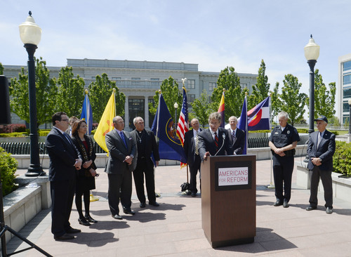 Steve Griffin  |  The Salt Lake Tribune  Area business leaders hold a press conference calling for Congress to enact immigration reform. The group of leaders held the press conference at the State Capitol in Salt Lake City, one of six press conferences happening at the same time in six Western states Tuesday, May 13, 2014.
