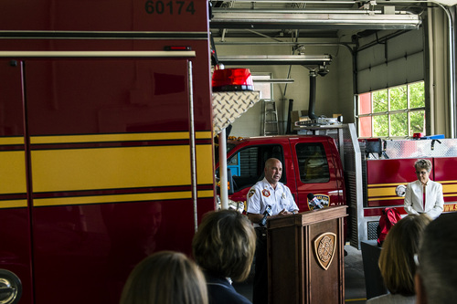 "Chris Detrick  |  The Salt Lake Tribune Salt Lake City Fire Department Deputy Chief Brian Dale and American Red Cross Regional CEO Heidi Ruster speak during a press conference announcing the ""Fire Hurts. Red Cross Helps."" initiative at Salt Lake City Fire Department Station 1 Thursday May 15, 2014."