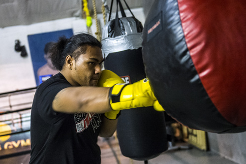 Chris Detrick  |  The Salt Lake Tribune Siala Mou 'Bubba' Siliga, a heavyweight boxing champion, poses for a portrait at State Street Boxing Gym  Thursday May 8, 2014. Bubba will represent the state in next week's National Golden Gloves Boxing championships in Las Vegas.