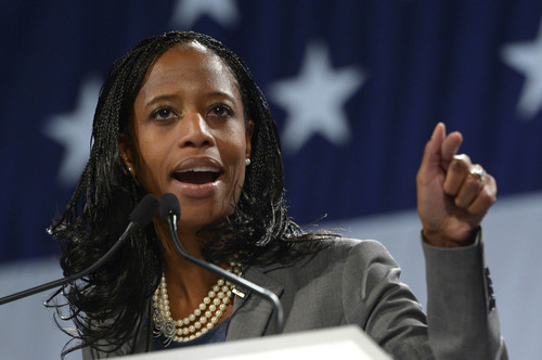 Leah Hogsten  |  The Salt Lake Tribune 4th Congressional District candidate Mia Love won the nomination with 78 percent of the votes at the Utah Republican Party 2014 Nominating Convention at the South Towne Expo Center, Saturday, April 26, 2014.