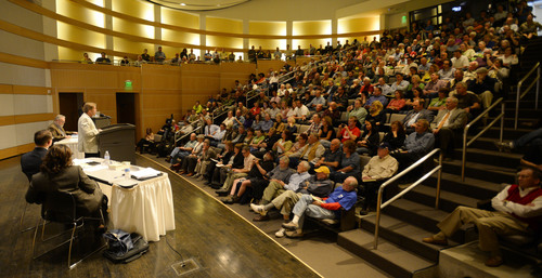 Steve Griffin  |  The Salt Lake Tribune   Citizens fill the auditorium at the Main Library in Salt Lake City, during a town hall meeting about who should control Utah's public lands Wednesday, May 14, 2014.