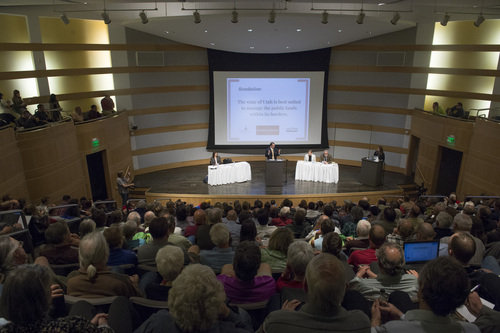 Rick Egan  |  The Salt Lake Tribune  Rep Ken Ivory argues his side, during the debate about who should manage Utah's public lands, at the Salt Lake City Library, Wednesday, May 14, 2014