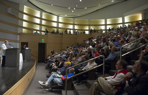 Rick Egan  |  The Salt Lake Tribune  Dr Daniel McCool argues his side, during the debate about who should manage Utah's public lands, at the Salt Lake City Library, Wednesday, May 14, 2014