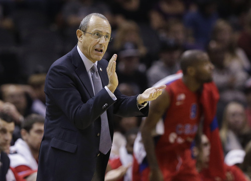 CSKA Moscow coach Ettore Messina talks to his team during the first half of an exhibition NBA basketball game against the San Antonio Spurs, Wednesday, Oct. 9, 2013, in San Antonio. (AP Photo/Eric Gay)