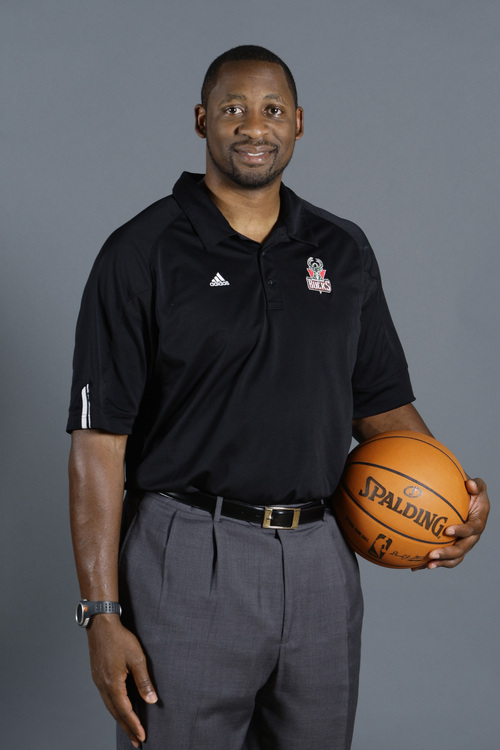 Milwaukee Bucks assistant coach Adrian Griffin is seen Monday, Sept. 28, 2009, in St. Francis, Wis. (AP Photo/Morry Gash)