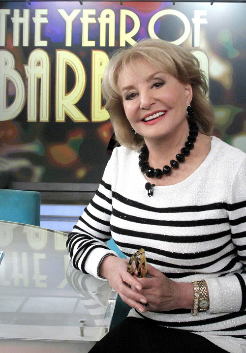 """This Wednesday, March 26, 2014 photo provided by ABC shows, co-host Barbara Walters on """"The View,"""" during the career celebration all season featuring """"The Year of Barbara,"""" a look back at many of her most notable interviews, originally featured on ABC's """"20/20."""" Walters plans to make her final appearance on """"The View"""" on May 16, part of a daylong retirement celebration that will include ABC News naming its New York headquarters after her. (AP Photo/ABC, Lou Rocco)"""