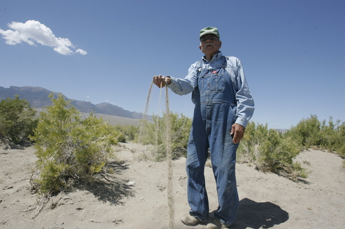 Rick Egan  |  The Salt Lake Tribune  Cecil Garland sifts the sand that has built up on portions of his ranch in Callao, Friday, August 21, 2009.