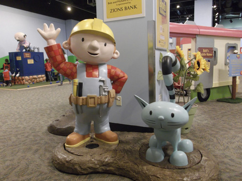 "Sean P. Means  |  The Salt Lake Tribune Bob the Builder and his cat, Pilchard, greet visitors at the entrance of the new interactive exhibit, ""Bob the Builder - Project: Build It,"" opening Saturday, May 17, at Discovery Gateway in Salt Lake City."