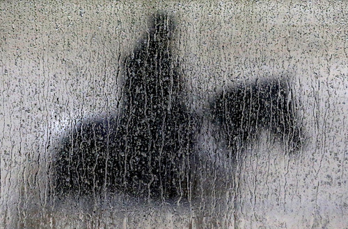 Rain runs down a pane of glass as a woman aboard a pony waits to guide a horse off the track during a workout session at Pimlico Race Course in Baltimore, Friday, May 16, 2014. The Preakness Stakes horse race is scheduled to take place on Saturday, May 17. (AP Photo/Patrick Semansky)