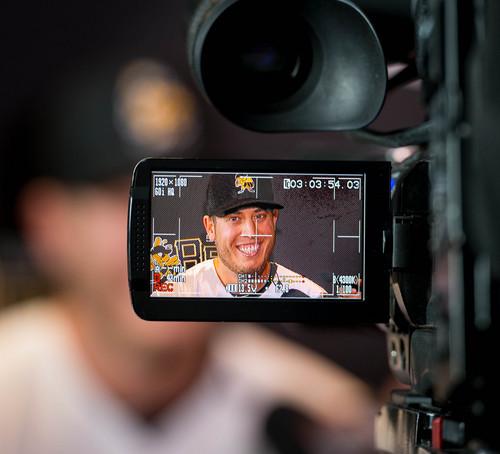 Trent Nelson  |  The Salt Lake Tribune Salt Lake Bees' infielder C.J. Cron talks about his return to Utah during media day for the Salt Lake Bees baseball team, at Smith's Ballpark in Salt Lake City, Tuesday April 1, 2014.