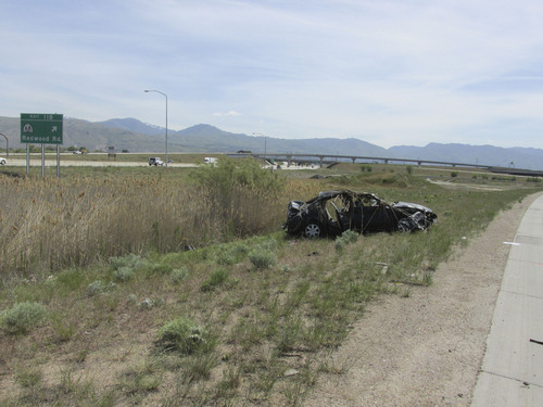 Courtesy  |  Utah Highway Patrol Three people were killed and another was critically injured early Saturday after a car ran off Interstate 80 and flipped into a retention pond, according to the Utah Highway Patrol.