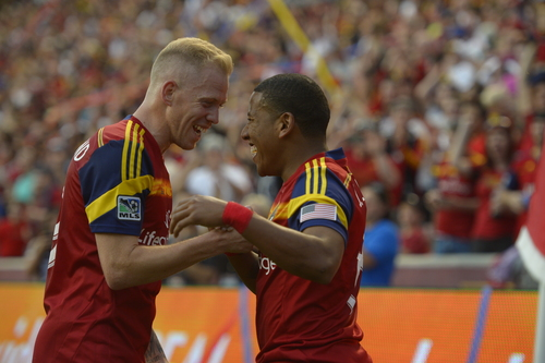 Rick Egan  |  The Salt Lake Tribune  Real Salt Lake midfielder Luke Mulholland (19) congratulate Jou Plata (8) after Plata's goal in the first period for Salt Lake, in MLS action, Real Salt Lake vs. The Colorado Rapids, at Rio Tinto Stadium, Saturday, May 17, 2014.