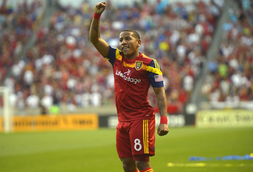 Real Salt Lake forward Jou Plata (8) celebrates his goal against the Colorado Rapids during an MLS soccer game Saturday, May 17, 2014, in Sandy, Utah. (AP Photo/The Salt Lake Tribune, Rick Egan)  LOCAL TV OUT  MAGS OUT  DESERET NEWS OUT