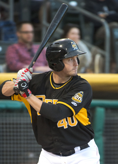 Rick Egan  |  The Salt Lake Tribune  David Freese at bat for the Salt Lake Bees, in PCL action at Smiths Ballpark, Monday, May 19, 2014