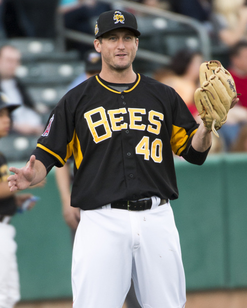 Rick Egan  |  The Salt Lake Tribune  David Freese play 3rd base for the Salt Lake Bees, in PCL action, Monday, May 19, 2014