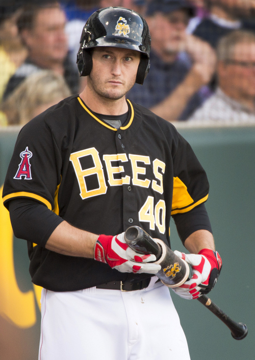 Rick Egan  |  The Salt Lake Tribune  David Freese  prepares for his turn at bat for the Salt Lake Bees, Monday, May 19, 2014