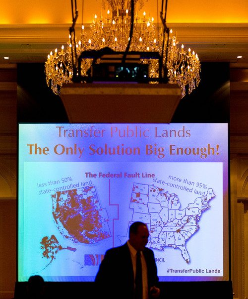 "Trent Nelson  |  The Salt Lake Tribune Utah Rep. Ken Ivory leads the panel, ""The Transfer of Public Lands - The Only Solution Big Enough!"" at the  Western Republican Leadership Conference at the Grand America Hotel in Salt Lake City, Friday April 25, 2014. Also on the panel, Rep. Keven Stratton, Nevada state Sen. Mark Hutchison and Montana state Sen. Jennifer Fielder."
